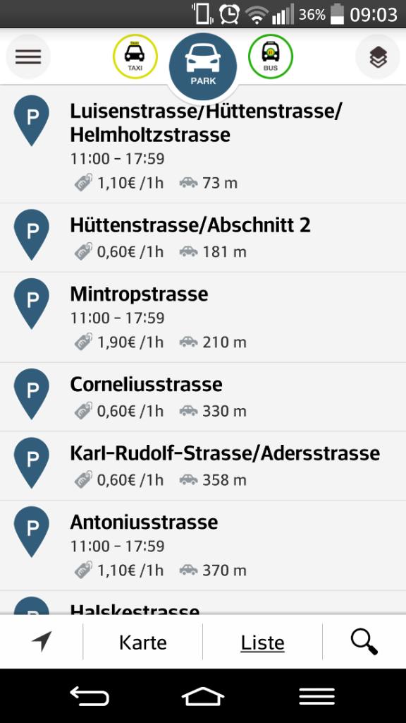 Listenparkplatzauswahl