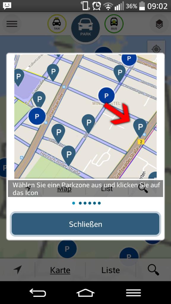 Parkzone auswählen und auf  Icon drücken