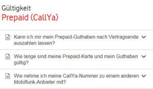 CallYa Gültigkeit bei Vodafone
