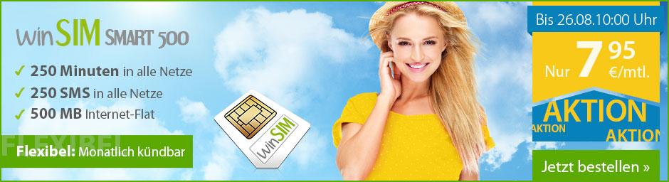 Smartphone-Tarif von winSIM für 7,95 Euro im Monat bis 26 August