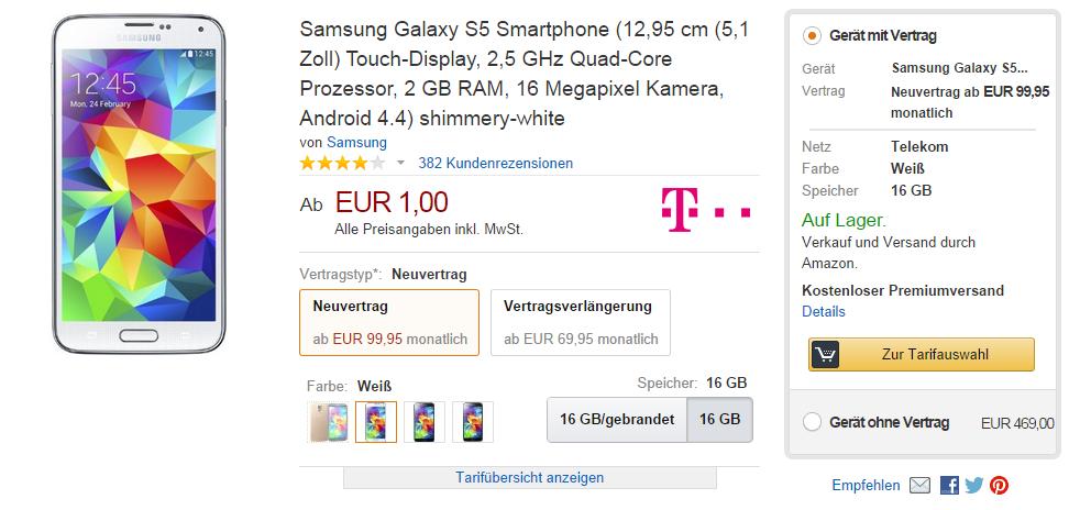 Samsung Galaxy S5 bei Amazon mit Telekom Vertrag