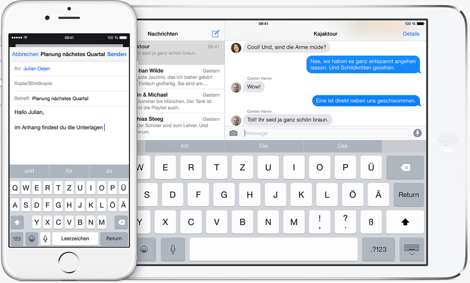 neue Tastatur in iOS 8 von Apple: Quicktype