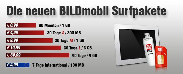 Neue Daten-Pakete von BILDmobil in Übersicht