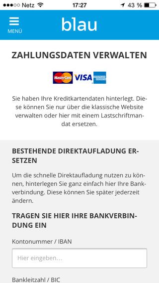 Verwaltung der Bankverbindung