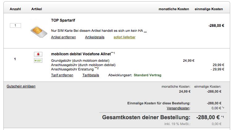 Allnet-Flat im Vodafone Netz unter 13 Euro mit 1 GB Daten-Flat