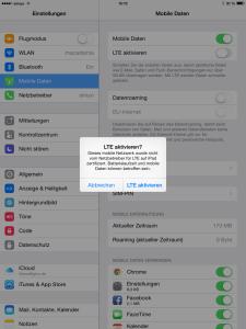 Meldung: Soll LTE aktivert werden?