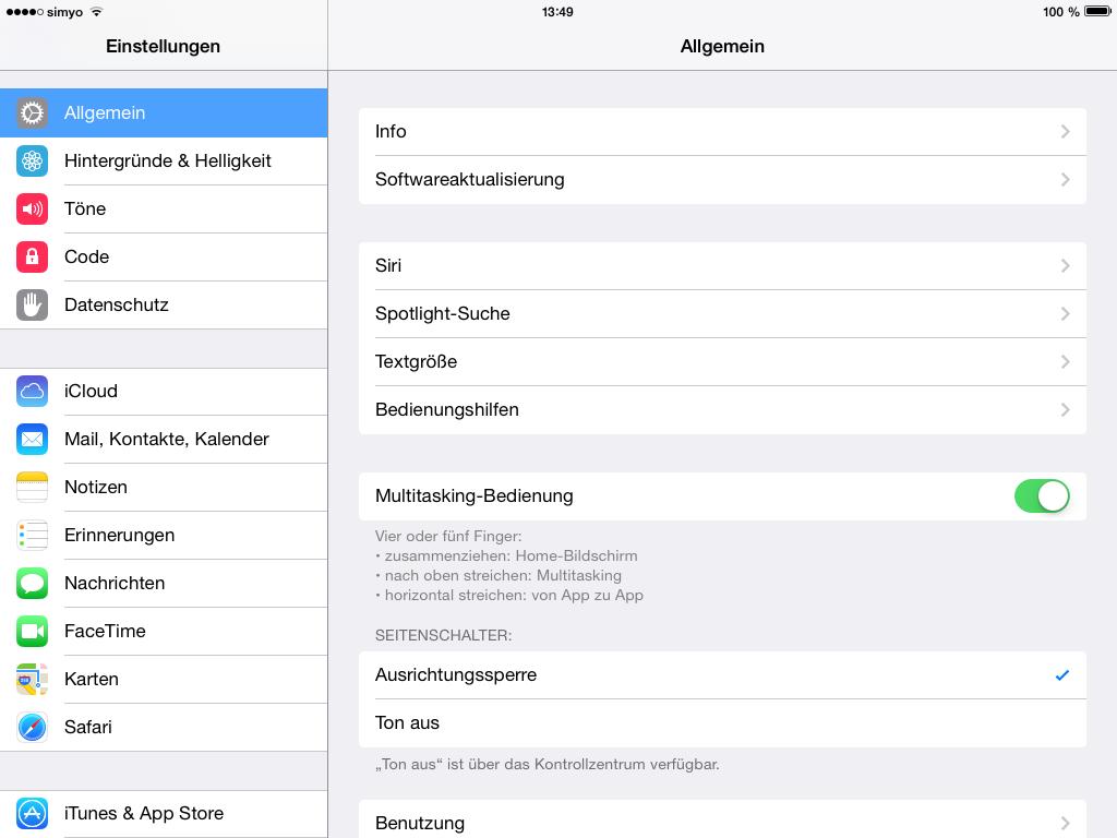 Einstellungen>Allgemein>Softwareaktualisierung