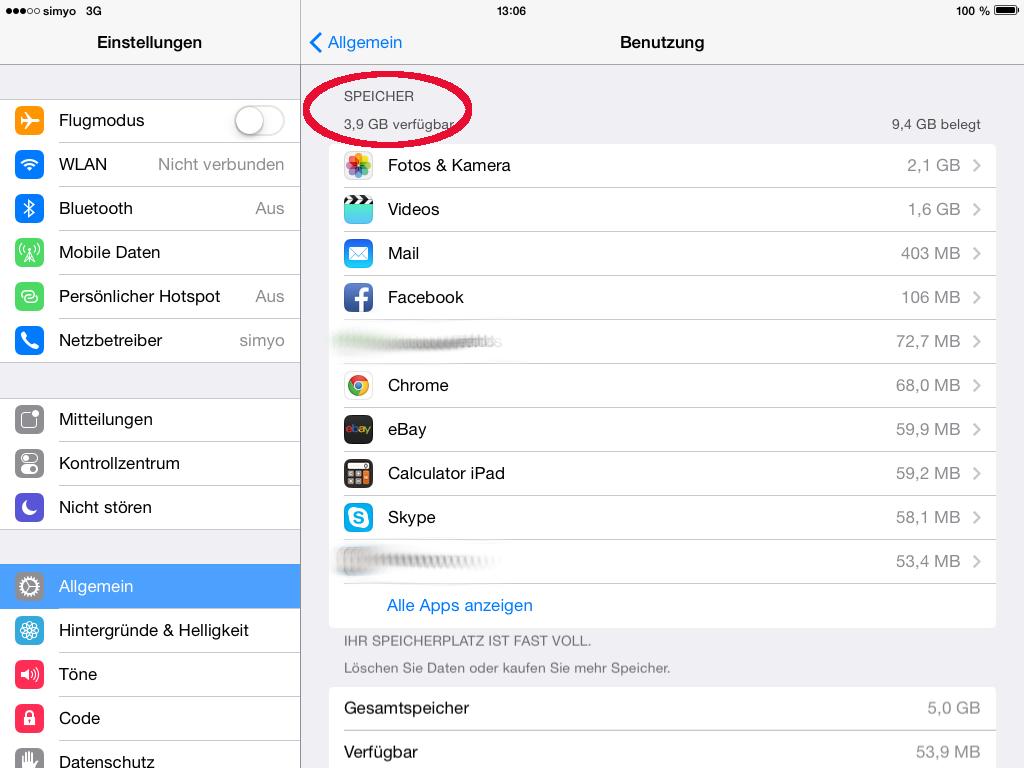 Speicherverbrauch auf iPad prüfen