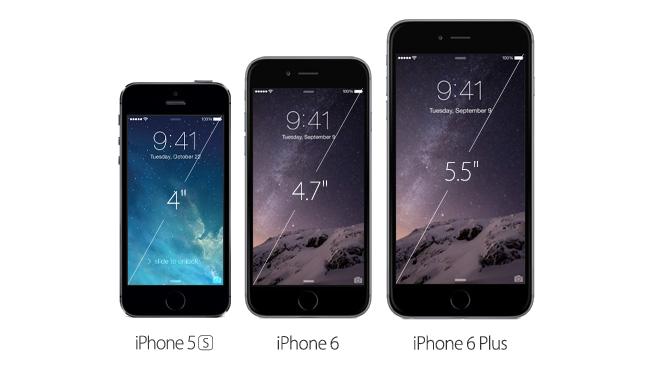 Großen-Vergleich bei iPhones 5s, 6 und 6 Plus