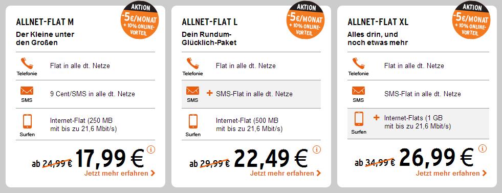 otelo: Allnet Flatrate Tarife mit Online-Vorteil im Vergleich