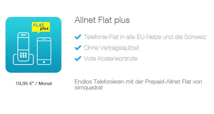 Simquadrat: erste EU Ausland-Flat