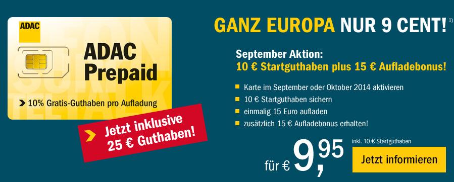 Prepaid Tarif von ADAC mit bis zu 25 Euro als Bonus