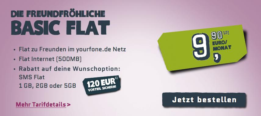 Basic Flat Tarif für 9 Euro bei yourfone
