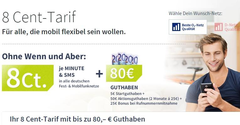 Aktion bei BigSIM: 80 Euro Guthaben für 8 Cent Tarif