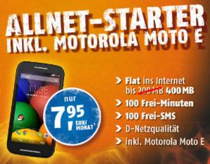 crash-tarife: klarmobil AllNet-Starter mit Moto E für 7,95 Euro