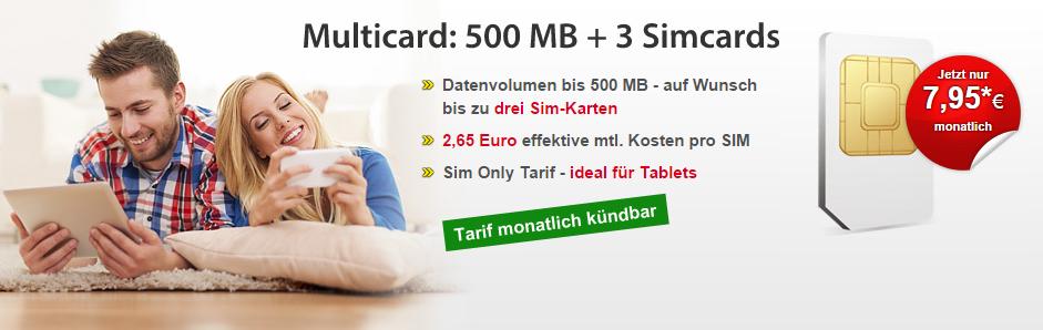 DatenSIM: Daten-Tarif mit 3 SIM-Karten