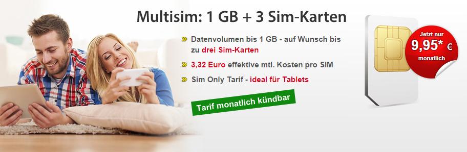 DatenSIM: Tarif mit 1 GB Datenvolumen und 3 SIM-Karten