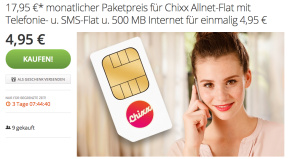 Chixx Allnet-Flat über Groupon 7 Euro günstiger!