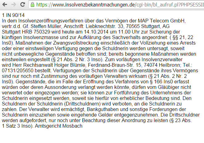 Insolvenz von handyliga.de