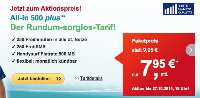helloMobil All-In 500 bis Montag 2 Euro günstiger