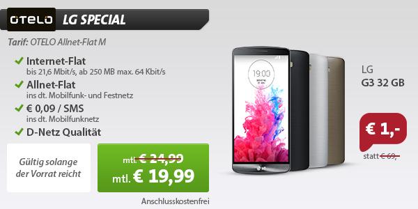 LG 3 mit Otelo Allnet Flat M für 19,99 Euro
