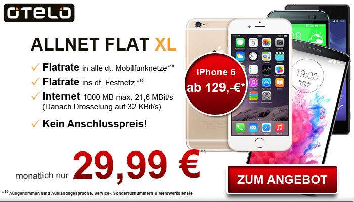 otelo Allnet-Flat XL mit iPhone 6 für 848,76 Euro in zwei Jahren