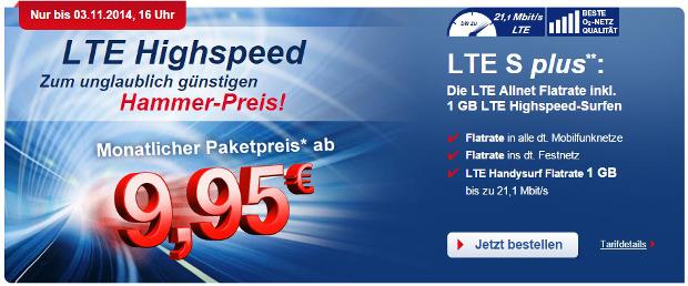 Allnet Flat mit LTE Geschwiendigkeit für 9,95 Euro