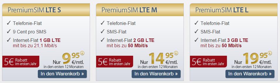 Neue PremiumSIM LTE Tarife im Vergleich
