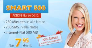 discoPLUS: Smartphone-Tarif Smart 500 20% günstiger