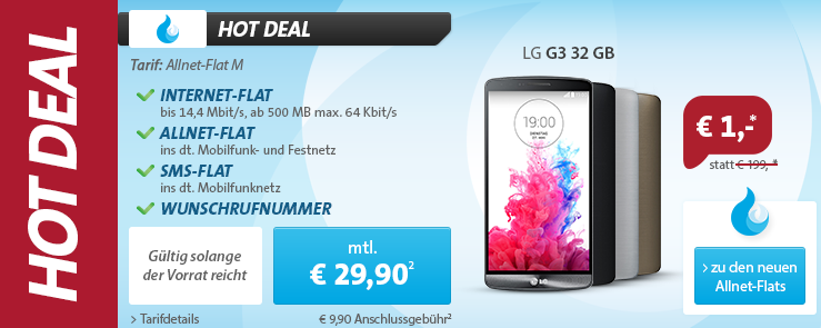 sparhandy Allnet-Flat mit LG G3 für 29,99 Euro