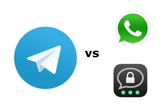 Telegramm gegenüber WhatsApp und Threema