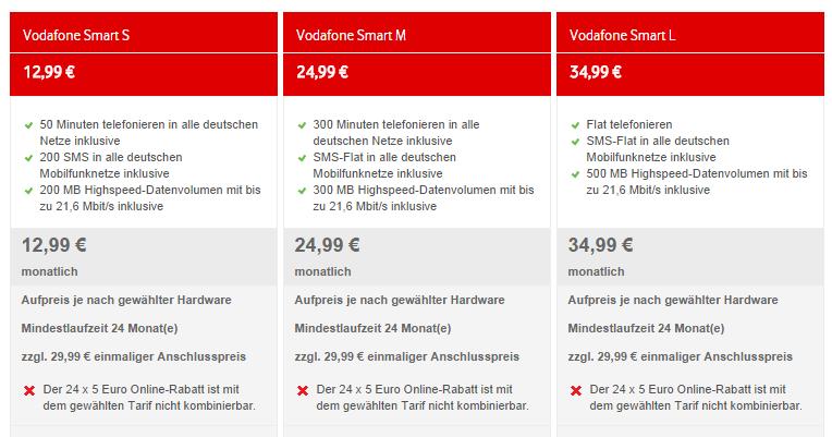 neue Smart-Tarife von Vodafone sind da