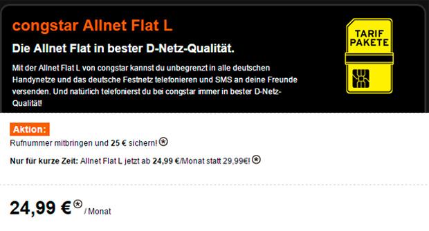 Allnet-Flat von congstar inkl. 1 GB Daten-Volumen ab 24,99 Euro