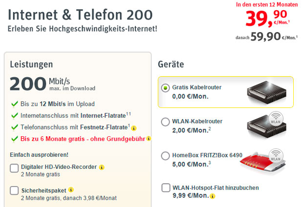 Kabel Deutschland - Internet & Telefon 200