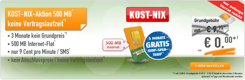 KOST-NIX-Aktion für klarmobil-Tarif mit 500 MB