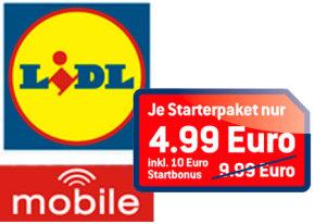 Lidl Mobile mit 50 Prozent rabattierten Sparpaketen