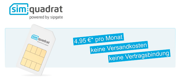 Simquadrat 4,95 euro pro monat