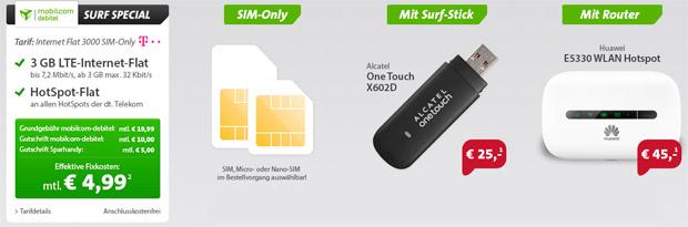 Sparhandy: 3GB Daten-Flat der Telekom inkl. Hardware für 4,99 Euro