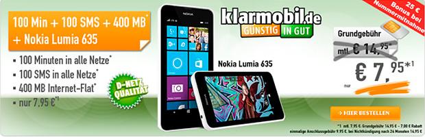 Starter-Tarif von klarmobil inkl. Nokia Lumia 635 für 7,95 Euro