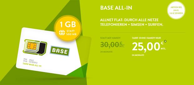 All-in-Tarif von Base mit 200 Prozent Daten-Volumen
