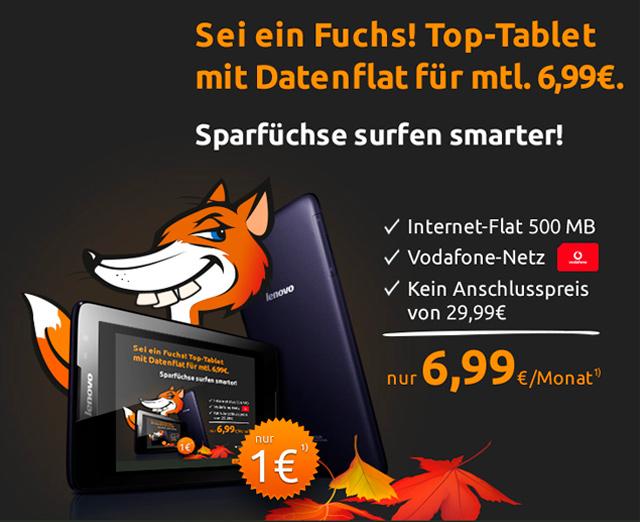 crash-Deal: Lenovo Tablet für 1,- Euro