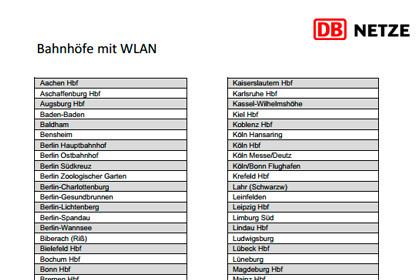Deutsche Bahn W-LAN An Bahnhöfen