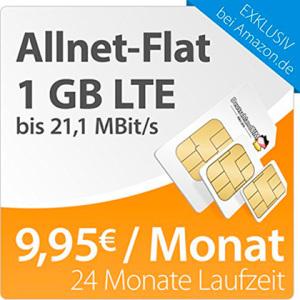 Allnet-Flat mit 1 GB LTE Internet-Flat für 9,95 Euro von DeutschlandSIM bei Amazon