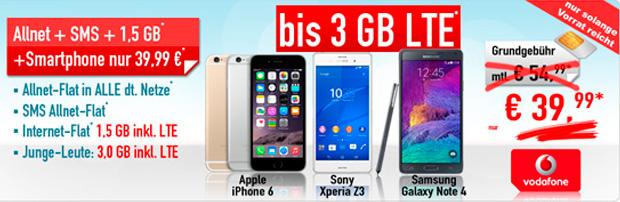 Handybude: Vodafone Smart XL mit iPhone 6 für nur 39,99 Euro