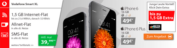 iPhone 6 oder iPhone 6 Plus je 49 Euro im Vodafone-Tarif