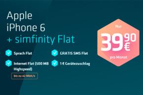 Simfinity-Aktion bis 31.12: Allnet-Flat, Datenflat, SMS-Flat & iPhone 6 für 39,90 €