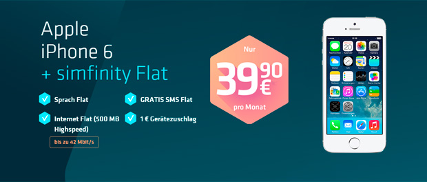 Simfinity Allnet-Flat & iPhone6 für 39,90 €