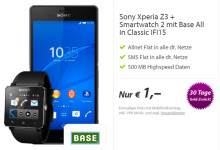 Base All-IN Flatrates + Xperia Z3 & Smartwatch für 1 Euro