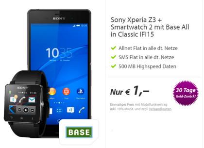 Base All-IN Flatrates + Xperia Z3 & Smartwatch für 1 Euro