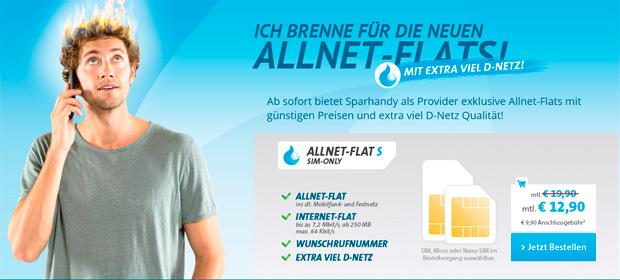 Sparhandy: Allnet-Flat im D1-Netz ab eff. 13,31 €/Monat